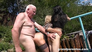 Aged man rams mature become man and their niece in outdoor threesome
