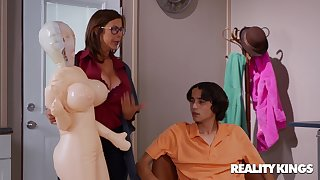 Inflated Sex Drive - nerdy brunette stepmom Alexis Fawx fucked apart from younger boy Ricky Spanish
