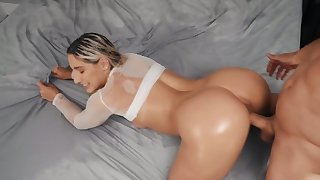 Big booty blonde loves doggy style position