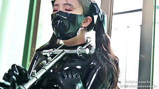 Cute latex girl does metal thraldom and breathplay