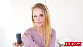 Petite blonde babe, Natalie Knight likes to ride a rock hard dick, on the love-seat