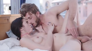 Slim brunette passionately rides BF's hard cock in the meeting-hall