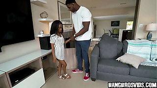 Petite ebony teen gets fucked wide of monster cock