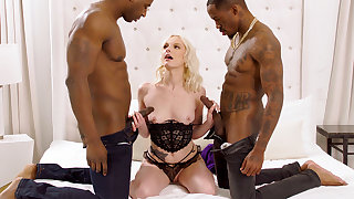 Titanic dark-hued penises spread blond's cock-squeezing vag