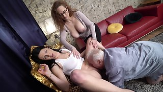 Amateur mature couple invited over a younger hooker for a troika