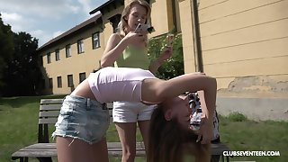 Outside lesbian fuck is yoke of the fantasies of sexy blonde Candy Teen