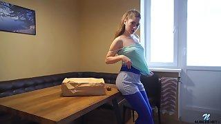 Russian busty teen Alexa Rovento is masturbating wet ambrosial pussy