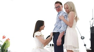 Dumb guy loses his virginity with Russian girlhood Bambi Dee & Michelle Can