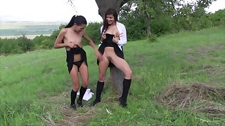Lesbian pussy fingering more outdoors adjacent to teens Cindy and Evelyn